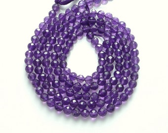 5mm Amethyst faceted round beads , Full strand