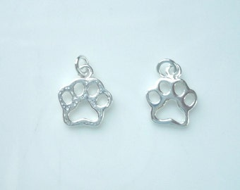 2 pcs Sterling silver Dog Paw charm (12X10mm),