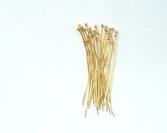 "10 pcs  1.5"" (38mm) Gold Vermeil ball headpin, 24 Gauge  (1.5"" ), gold plated sterling silver"