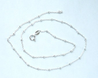 20 inches Sterling silver necklace chain with  beads, satellite chain, beaded cable chain