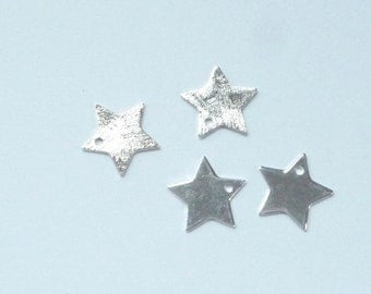 2 pcs Sterling silverl Star charm,(10mm), one side shiny, one side brushed