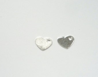 2  pcs Sterling silver heart charm. (9X7MM)