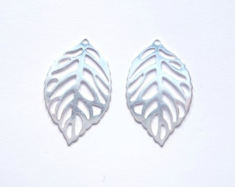 2 pcs Sterling silver  Leaf  Findings, charm, pendant, connector (23x14mm)