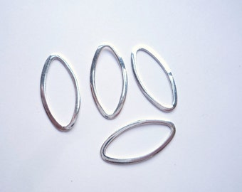 4 pcs Sterling silver ,  marquise shape link,flat  connector, spacer  (26x12mm)