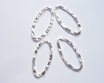 4 pcs Sterling silver, textured, marquise shape link, connector, spacer  (26x12mm)