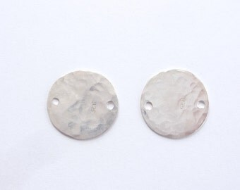 2pcs Sterling silver , hammered disk with 2 holes, link, connector ,(14mm)