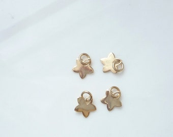 4 pcs Gold Vermeil,   Star charm (7mm). Gold plated .925 sterling silver