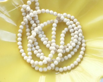 4mm River stone, creamy white  round beads , full strand
