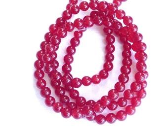 6mm Red Jade round beads ,Full strand