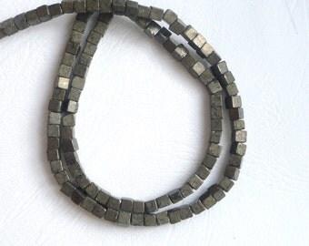 5mm  Pyrite cube beads, full strand