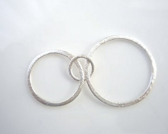 Sterling silver, , brushed double  circles link, pendant