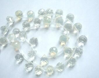 12 pcs  Opalite , faceted , glass  teardrop briolette beads (11x9mm)