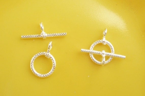 2 sets Sterling silver toggle clasps  (8mm)
