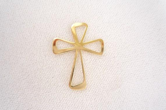 Vermeil Cross Cross Connector, link, spacer  (30x23mm)