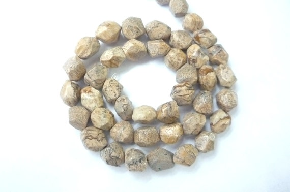 picture jasper  beads  faceted nugget gemstone beads (8x11mm), FULL STRAND