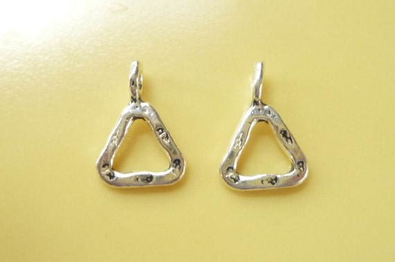 2 pcs Sterling silver Triangle charms (13x9mm),