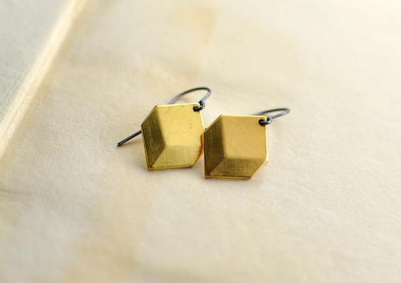 Brass Earrings no.2 . Geometric . by Mad Tea Garden