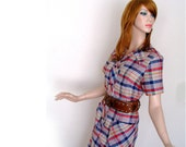 Shirt Dress Plaid 1970s  Size M/L