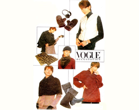 Winter Accessories Pattern / 1990s Sewing Pattern Hat, Boot Liners, Ear Muffs, Mittens, Scarves, Capelet, Vest, Pullover / Vogue 9354