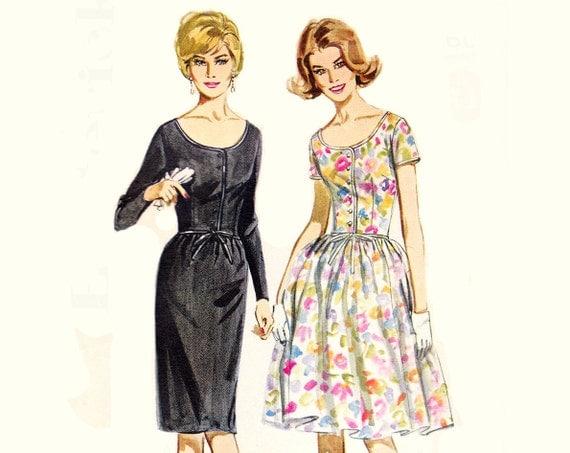 60s Dress Pattern / 1960s Vintage Sewing Pattern Scoop Neck Dress Full Skirt / Butterick 2806 / Size 10, bust 31