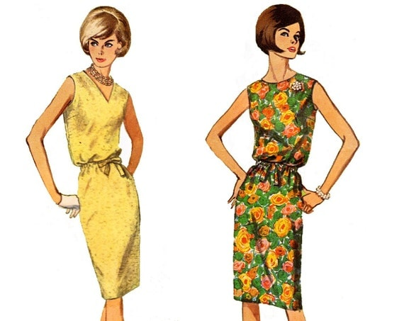 60s Dress Pattern / 1960s Vintage Sewing Pattern Dress Jumper / Simplicity 5963 / Size 11, bust 31.5""