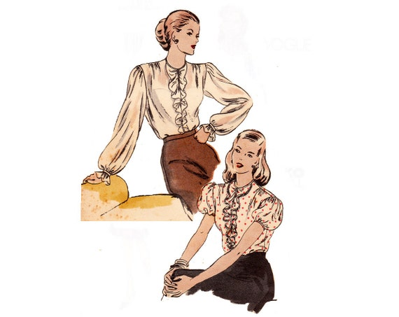 40s Blouse Pattern / 1940s Vintage Sewing Pattern Ruffle Blouses Puffed Sleeves / Vogue 5641 / Size 12, bust 30