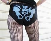 Black with Silver Ink Pelvis Bones Roller Derby Shorts