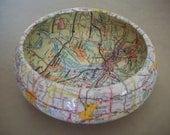 Vintage Map St Louis MO Decoupage Bowl