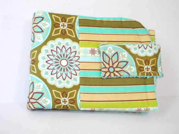 baby diaper wallet turquoise and green modern print retro embroidery