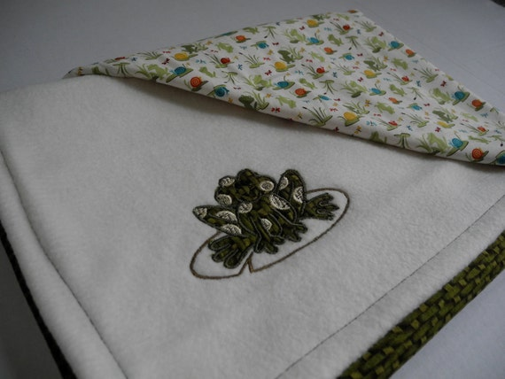 frog baby blanket applique frog personalized