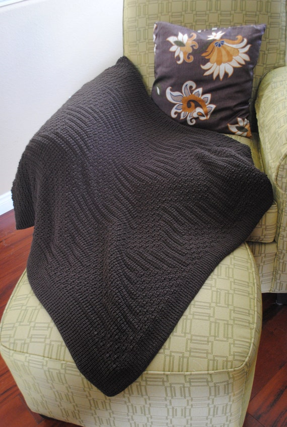 RESERVED LISTING for thaise 1 - Throw Blanket, Knitted Afghan, Brown