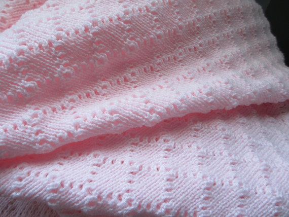 """Baby Afghan/ Blanket, Knitted """"Baby Pink""""   SALE"""