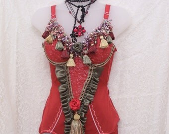 Red Gypsy Queen all in one bodysuit 36B clearance