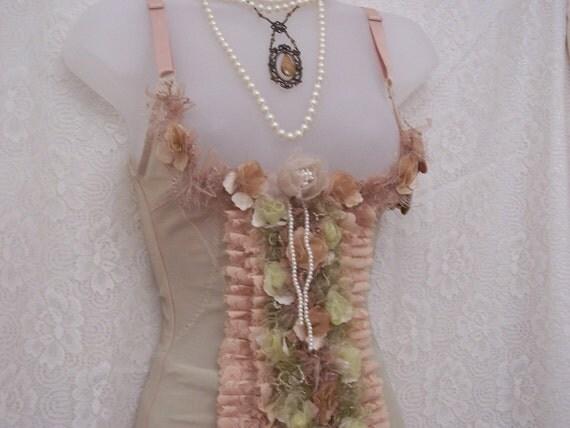 Fancy floral green beige underbust corset cincher handmade