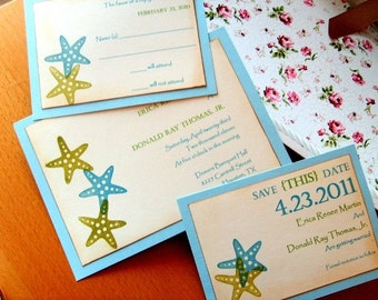Starfish Beach Invitations Set in Blue with Save the Dates - (Sample No. 016)