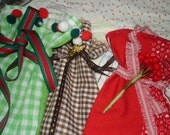 Holiday Fabric Gift Bags  Vintage Fabric and Embellishments  3  bags