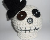 Crocheted Sugar Skull Mr Wild and Wacky Halloween Day of the Dead Skully Pincushion NOW 12.00!