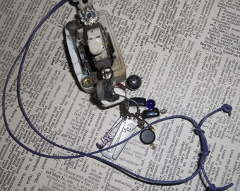 Industrial Strength Altered Switch Necklace, vintage with charms OOAK