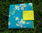 Fabric Mini Wallet - Teal & Lime Green