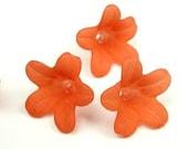 12 Lucite Matte Ripe Papaya Orange Bell Flower Beads 7x12mm