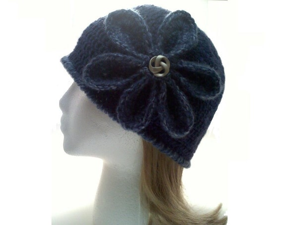 SALE - Blue Cloche Flower Hat