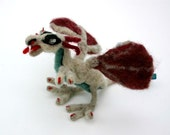 Pale Dragon Red Wings Needlefelt Sculpture