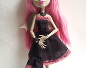 LAST FEW ! ! ! -  Black and Pink Lacey Dress for Monster High Doll