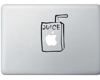 Buy 2 get 1 Free Apple Juice Box Vinyl Sticker, Decal for Macbook, Macbook Pro, IPad,Laptops- SALE