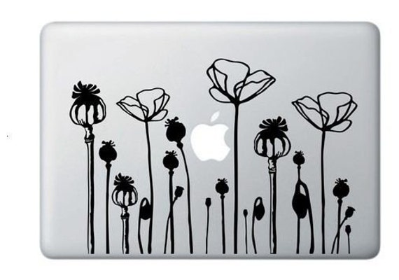 California POPPY FLOWER Deco Mural Art  Notebook Decal Laptop Sticker Macbook ,Mac