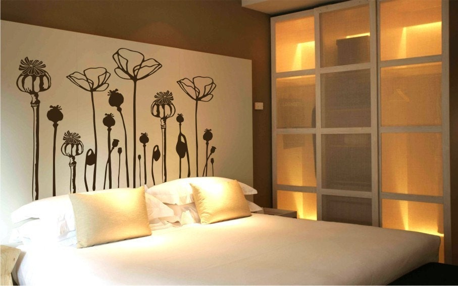 Poppies flowers deco mural art wall sticker decal by - Deco tableau mural ...