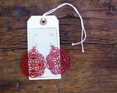 The ELEANOR- Large Red FANTASTIC Filigree Dangle Earrings- Great for Holiday Gifts, Bridesmaid Gifts, or Family Pictures