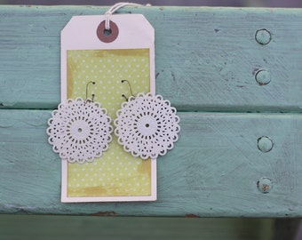GLADYS- Essential CREAMY White Filigree Round Earrings - Shabby Chic