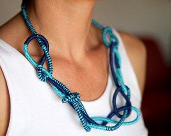 Blue knot necklace, sapphire fiber art jewelry, eco friendly necklace, navy necklace