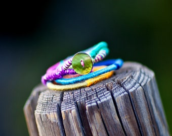 Colorful cord bracelet, fiber bracelet, boho bracelet, tribal bracelet, wrapped bracelet, eco friendly jewelry, autumn jewelry